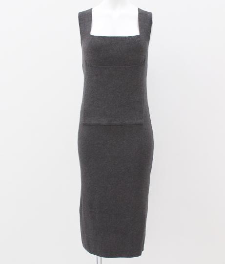 ニットジャンパースカート|グレー