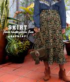 花柄ゴブラン裾フリンジフレアスカート