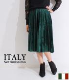 ITALY ベロアプリーツミモレ丈スカート