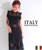 ITALY レース切替ロングドレス