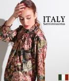 ITALY ゴブラン織りプリントブラウス