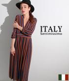 ITALY ラメ糸混ストライプワンピース