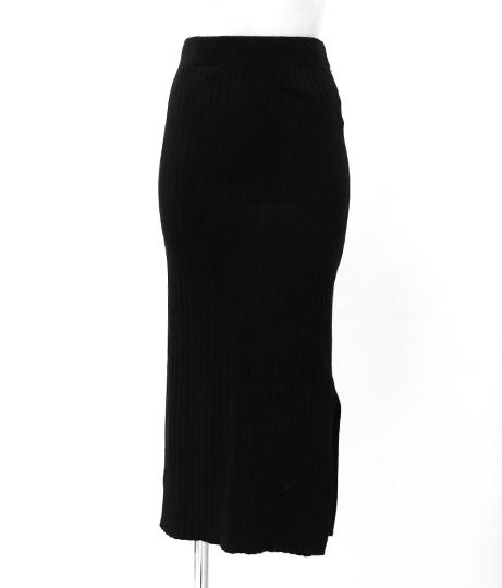 リブニットタイトスカート|ブラック