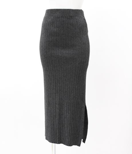 リブニットタイトスカート|グレー