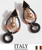 ITALY ロープ×ウッドチェーンピアス