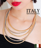 ITALY パイプ5連ネックレス