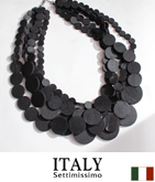 ITALY レザータッチサークルネックレス