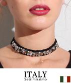 ITALY ベロアビジューチョーカー
