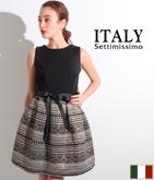 ITALY ラメ糸ジャガードドレス