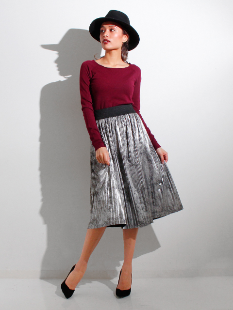 ITALY メタリックプリーツスカート