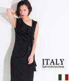 ITALY ラッフルアシンメトリードレス