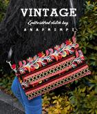 ヴィンテージ風刺繍クラッチバッグ