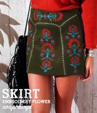 ヴィンテージ風刺繍ミニスカート