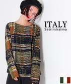 ITALY チェックプリントカットソー