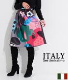 ITALY シュールアートプリントスカート