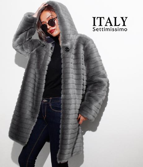 ITALY フェイクファーフーディーコート