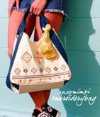 タッセル付き刺繍バッグ