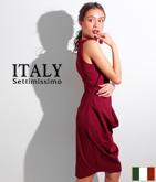 ITALY サイドドレープアシンメトリードレス