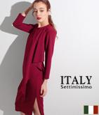 ITALY カスケードアシンメトリードレス