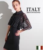 ITALY ラメケープスリーブドレス