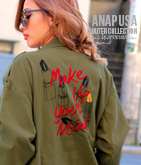 リップ刺繍ミリタリージャケット