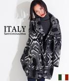 ITALY ジオメトリックコクーンコート