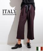 ITALY ピンストライプサイドラインパンツ