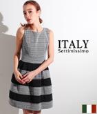 ITALY チェックボーダー切替ドレス
