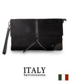 ITALY スウェードタッチ格子編みクラッチバッグ