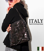 ITALY グリッターチェーントリミングバッグ