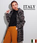 ITALY ミックスカラーフーディコート