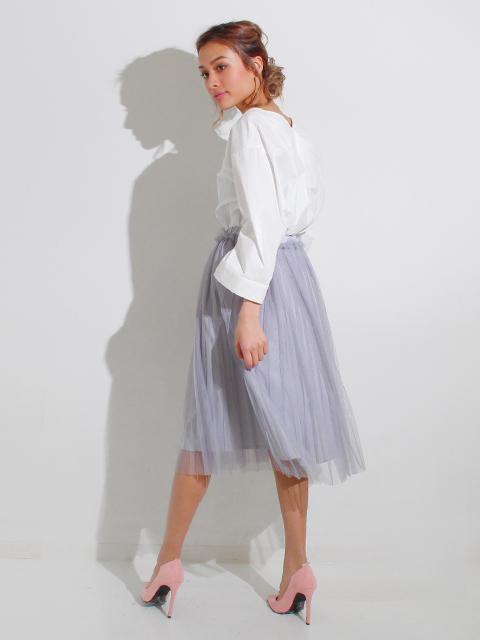 プリーツチュールレイヤードスカート