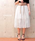 刺繍レースフレアスカート