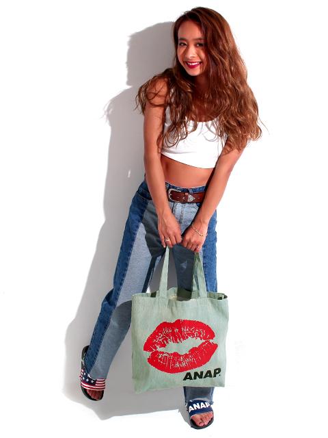 『ANAP』ロゴ×LIPプリントデニムトートバッグ