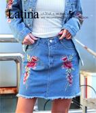 フラワー刺繍デニムミニスカート