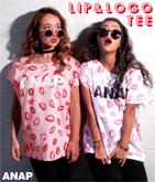 『ANAP』ロゴ×LIP柄Tシャツ