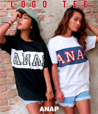 『ANAP』ロゴ配色切り替えTシャツ