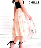 チュール花刺繍スカート