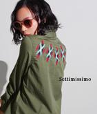 バックオルテガ刺繍ミリタリーシャツ