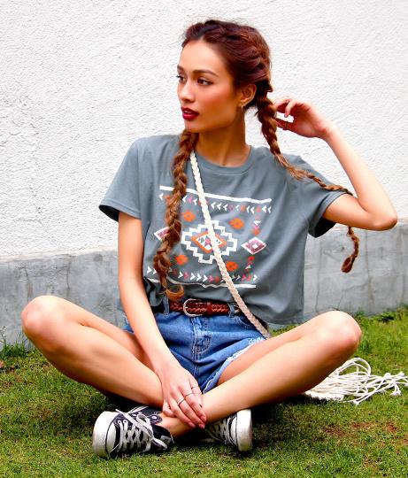 オルテガプリントクロップドTシャツ