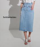 フラワー刺繍ダメージデニムスカート