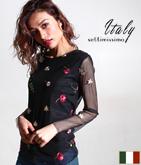 ITALY フラワーモチーフ刺繍トップス