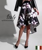 ITALY フラワープリントテールカットスカート