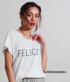 パールネックレス風ロゴTシャツ