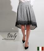 ITALY ギンガムチェックテールカットスカート