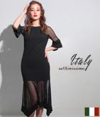 ITALY メッシュヘムマーメイドドレス