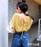 袖花刺繍バックリボントップス