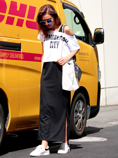 オフショルTシャツ+マキシワンピースSET