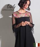 ITALY フラワー刺繍フレアースリーブワンピース