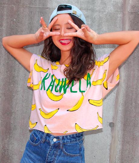 バナナ柄クロップドTシャツ